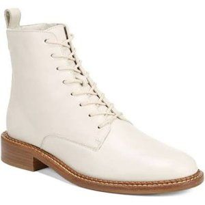 VINCE Cabria Leather Combat Lace-Up Booties 8.5